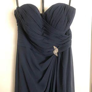 Navy Bill Levkoff Bridesmaid Dress